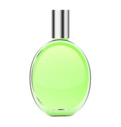 Green perfume bottle mockup realistic style vector