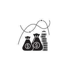 growing money black concept icon growing vector image