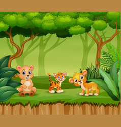 Happy animals enjoying in the nature vector