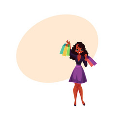happy black african girl woman with shopping vector image