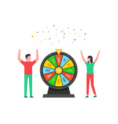 happy man and woman with wheel fortune lottery vector image