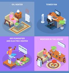 Home climate control 2x2 design concept vector