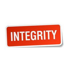 Integrity red square sticker isolated on white vector