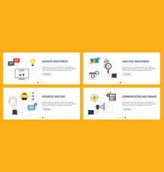 internet banner set investment business and vector image