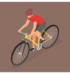 Isometric man ride on bicycle vector image
