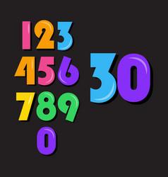 Kids number set template design vector
