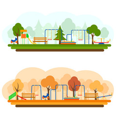 kids playground with playing equipment in summer vector image