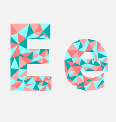 letter e low poly alphabetgeometric styleabstra vector image