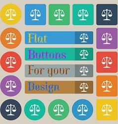 Libra icon sign Set of twenty colored flat round vector