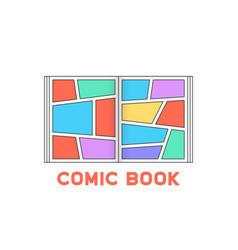 linear colored comic book logo vector image