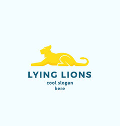 Lying lions abstract sign emblem or logo vector