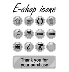 metallic e-shop buttons set for website elegant vector image