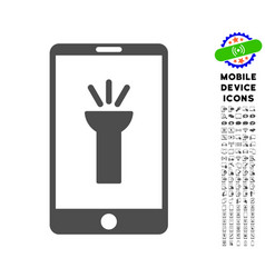 Mobile torch app icon with set vector