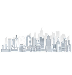 Modern outline line big urban city panorama vector