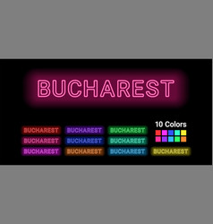 Neon name of bucharest city vector