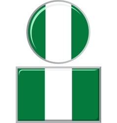 Nigerian round and square icon flag vector image