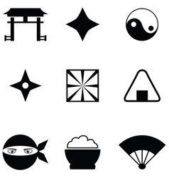 ninja icon set vector image
