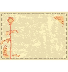 old card with rose vector image