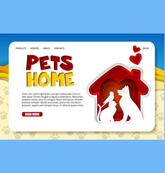 paper cut pets home landing page website vector image