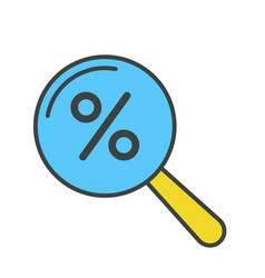 Percentage icon magnifying glass vector