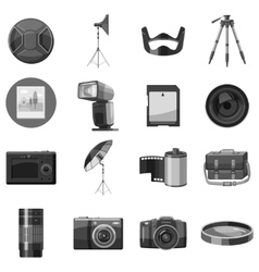 Photo equipment icons set gray monochrome style vector