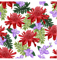 red torch ginger seamless pattern with purple vector image
