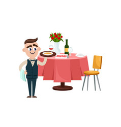 reserved sign on the table in restaurant vector image