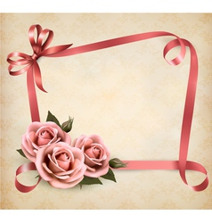 Retro holiday background with pink roses and vector