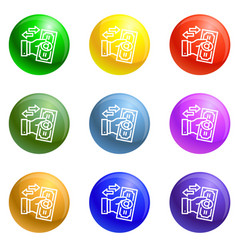 Reverse bribery icons set vector