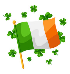 saint patricks day irish flag with vector image
