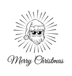Santa claus weared black sunglasses vector