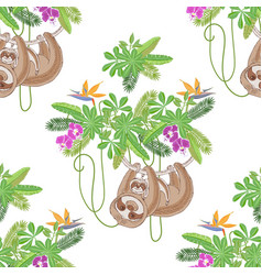 Seamless pattern with sloths in jungle vector