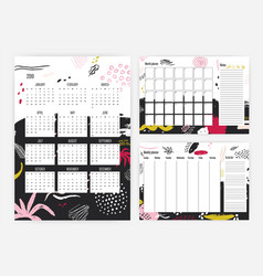 Set of 2019 year calendar monthly and weekly vector