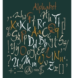 Set of calligraphic acrylic or ink alphabet vector