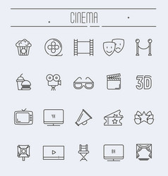 set of cinema and movies related thin line icons vector image