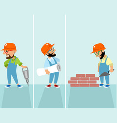 Set of hipsters builders vector