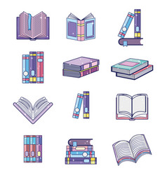 set of magic books vector image