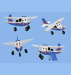 set small turbo propelled airplane in cartoon vector image