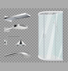 Shower stall heads realistic bathroom vector