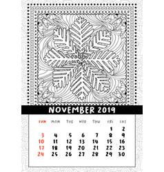Snowflake coloring book page calendar november vector