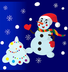 Snowman and cristmas tree vector