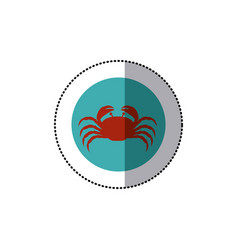 Sticker old blue circular ornament with crab vector