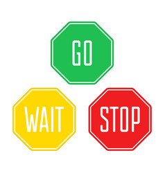 stop wait go sign vector image