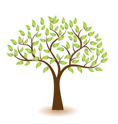 Stylized tree with green leafs element vector