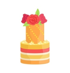 Tall Tower Cake With Real Roses Decorated Big vector
