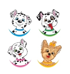 Three dalmatians and one yorkshire terrier vector