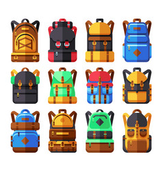 Tourist backpack flat icons hiker knapsack vector