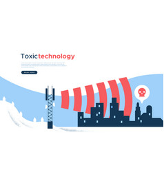 Toxic 5g tower wave technology web page template vector