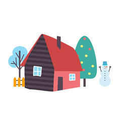 Tree and house snowman and nature view vector
