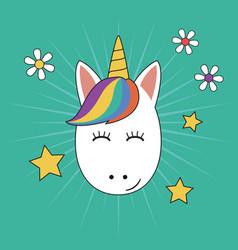 unicorn face with beauty rainbow hair and horn vector image